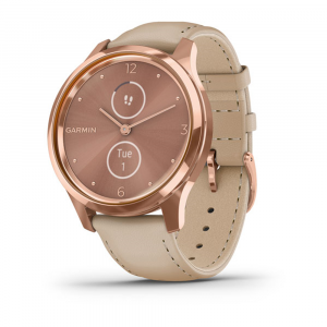 Garmin Vivomove® Luxe 18K Rose Gold PVD Stainless Steel Case with Light Sand Italian Leather Band