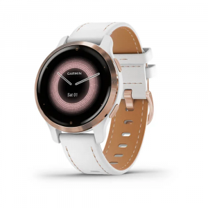 Garmin Venu 2S Rose Gold Stainless Steel Bezel with White Case and Leather
