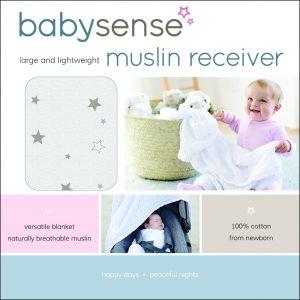 Baby Sense Muslin Receiver - Grey