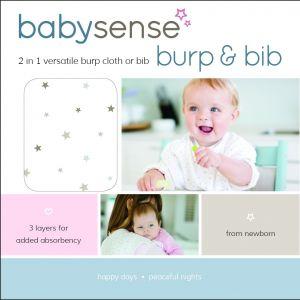 Baby Sense Burp & Bib - Stone