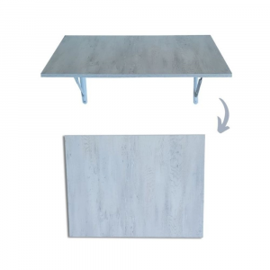 SpaceSave Fold Down Wall Mounted Study Desk Table 80x60cm - Woodgrain Marble