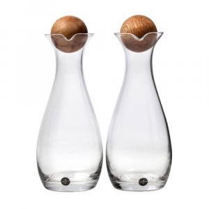Sagaform Oil & Vinegar Bottles with Oak Stoppers 300ml
