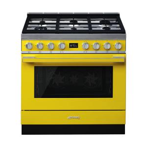 Smeg 90cm Portofino 6 Burner Gas Stove Yellow - CPF9GMYW