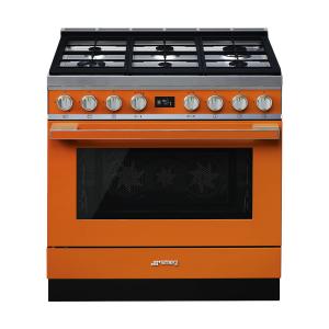 Smeg 90cm Portofino 6 Burner Gas Stove Orange - CPF9GMOR