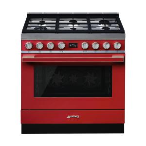 Smeg 90cm Portofino 6 Burner Gas Stove Red - CPF9GMR