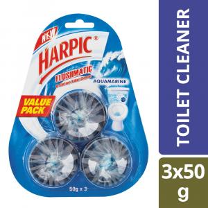 Harpic Flushmatic Blocks - In Cistern Toilet Cleaner - Aquamarine - 50g Value Pack