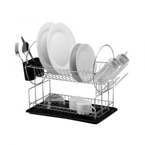 Casa Catania 201 2 Tier Chrome-plated Dish Drainer - PP Black