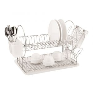 Casa Catania 202 2 Tier Chrome-plated Dish Drainer - Clear White