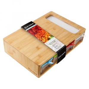 Eiger Bernese Series Bamboo Cutting Board with Prep Storage Containers