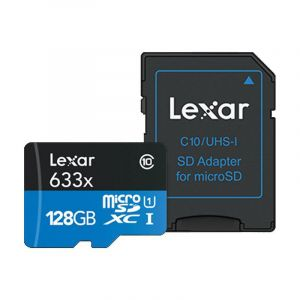 Lexar 128GB microSD High Speed 633x 95MB/s + SD Adapter (UHS-I) (Class 10)