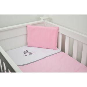 Cabbage Creek 3 Piece Cot Linen Set - Grey Teddy & Pink Hearts