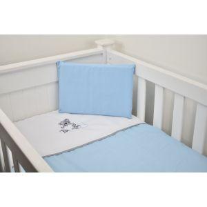 Cabbage Creek 3 Piece Cot Linen Set - Grey Teddy & Blue Hearts