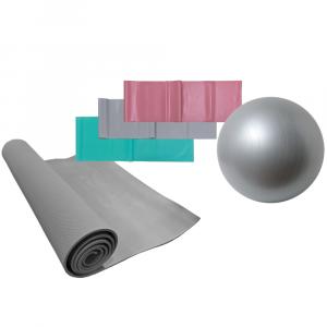 Volkano Active Yoga Starter Kit - 55cm Anti-Burst Gym & Yoga Ball + Resistance Bands + PVC Yoga Mat